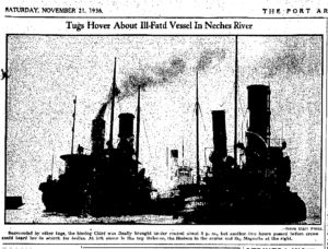 1936.11.21 Port Arthur News Tugs Hover About Ill-fated Vessel in the Neches River